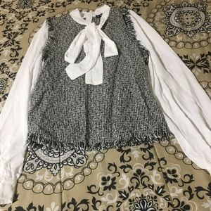 White and gray formal top